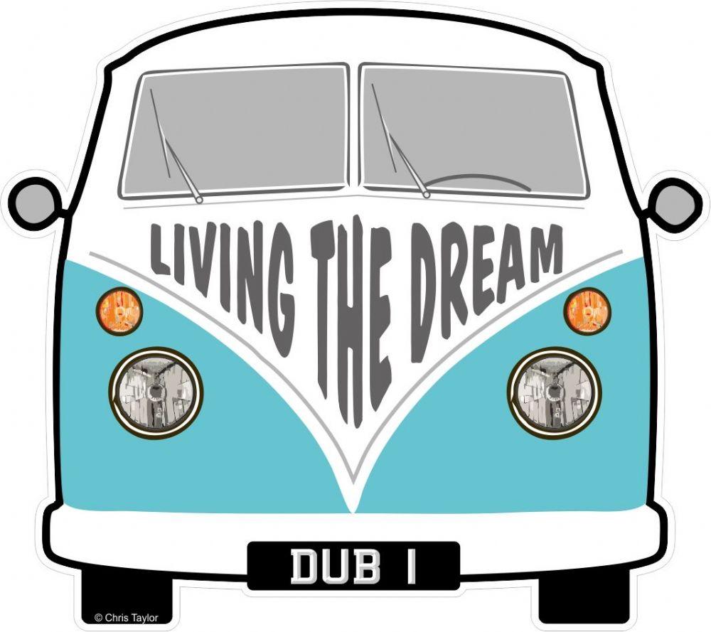 LIVING THE DREAM Slogan For Retro SPLIT SCREEN VW Camper Van Bus Design External Vinyl Car